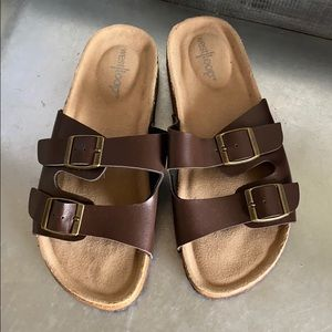 West loop brown strap sandals like Birkenstock's